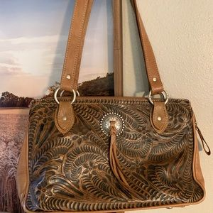 Genuine Leather Tooled Purse